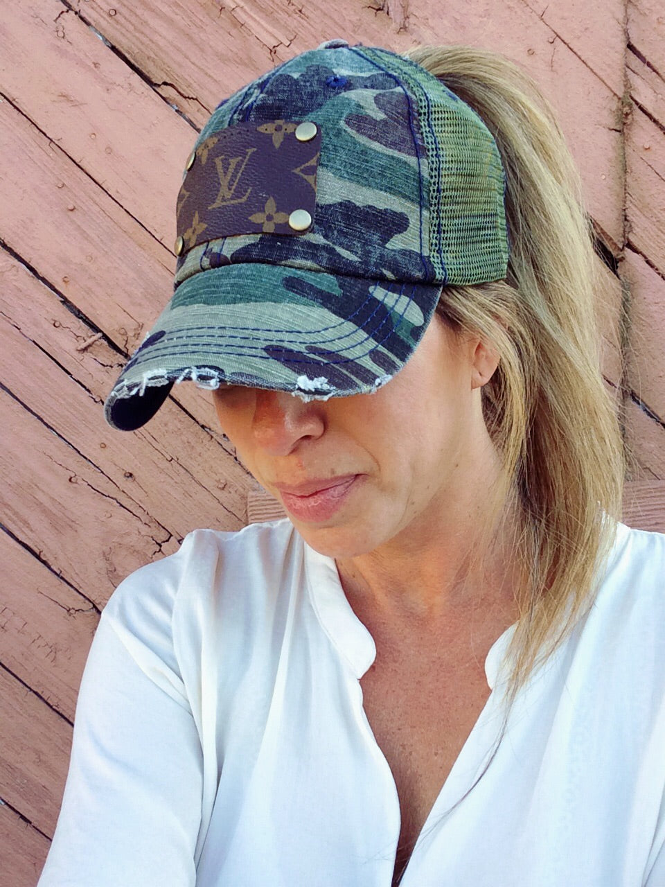 Camo Up-Cycled LV Distressed Ponytail Cap