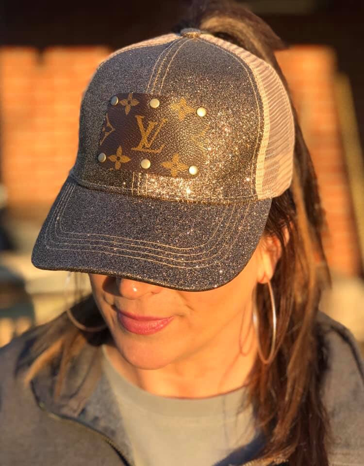 Bronze Glitter Up-Cycled LV Distressed Ponytail Cap
