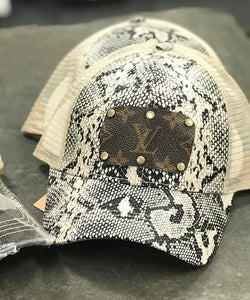 Jamison Up-Cycled LV Distressed Ponytail Baseball Cap