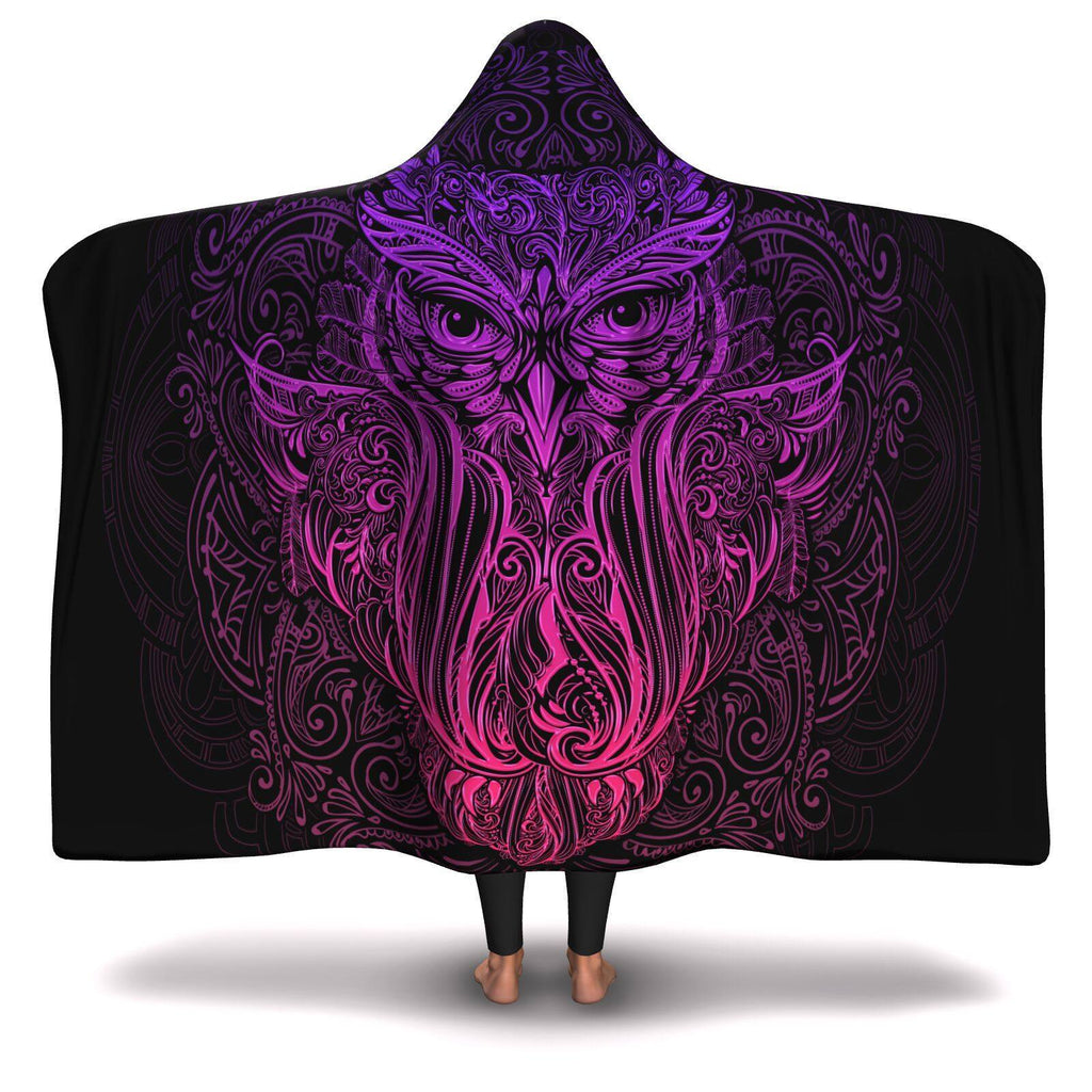 SACRED OWL PREMIUM HOODED BLANKET with WRIST STRAPS