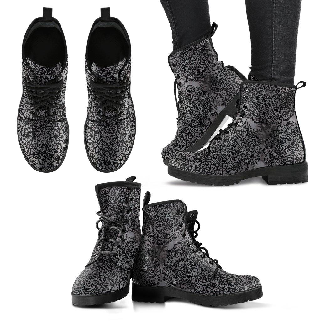 Black Mandala Vegan Leather Boots