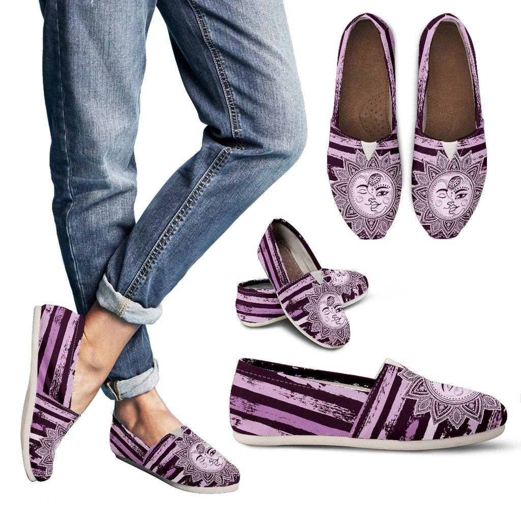 Sun and Moon Purple Striped Casual Slip On Shoes