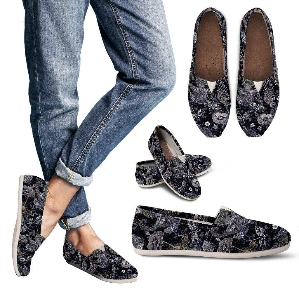 Black Flower Dragonfly Casual Slip On Shoes