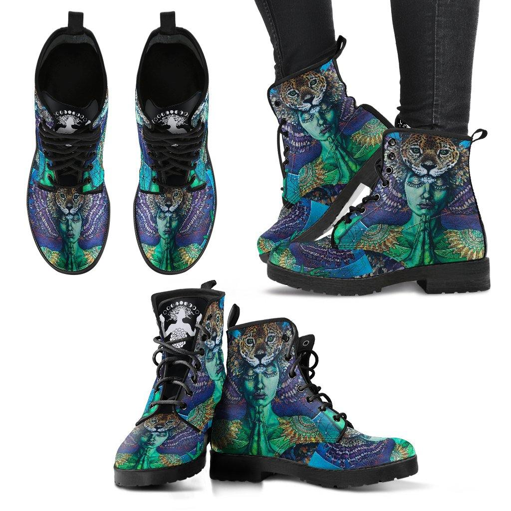 Leopard Goddess Spirit Animal Vegan Leather Boots