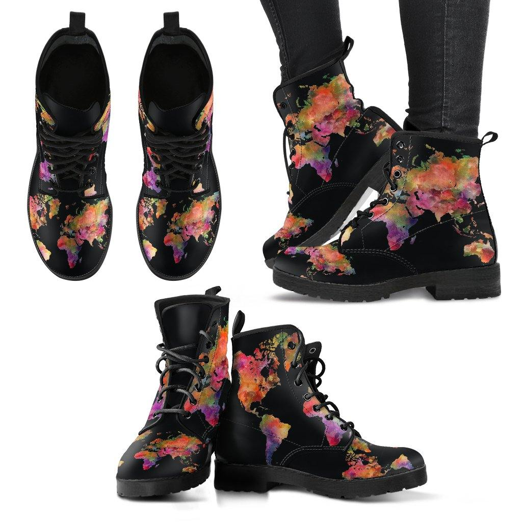 Watercolor Wanderlust Map Vegan Leather Boots