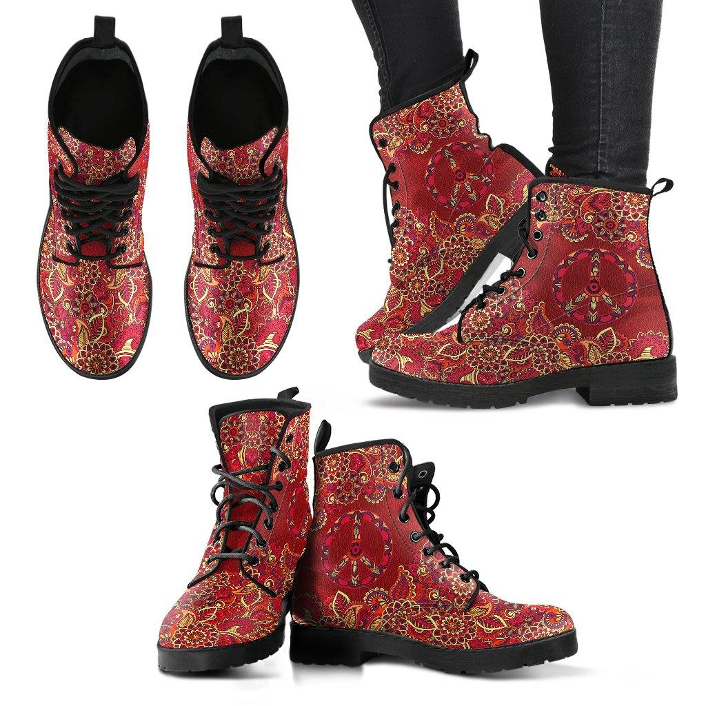Red Peace Mandala Vegan Leather Boots