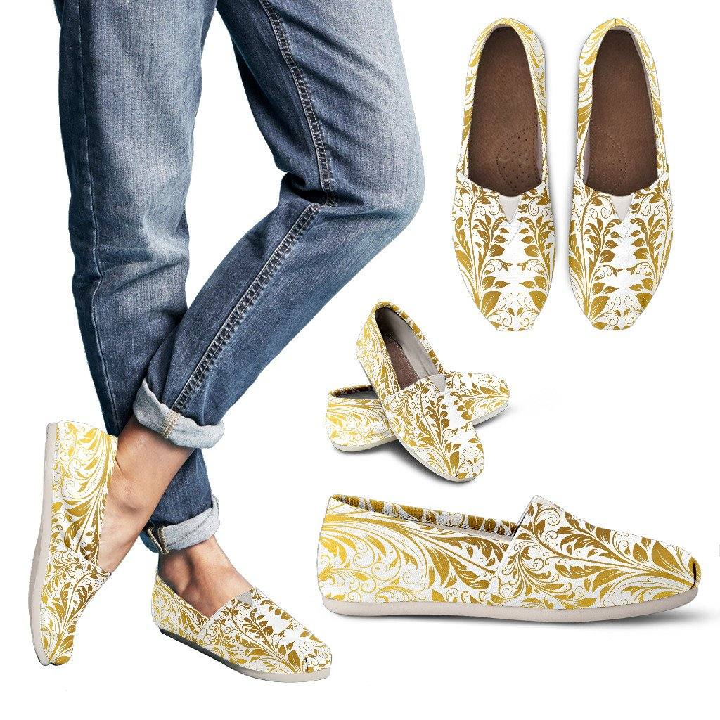 White and Gold Leaf Casual Slip On Shoes