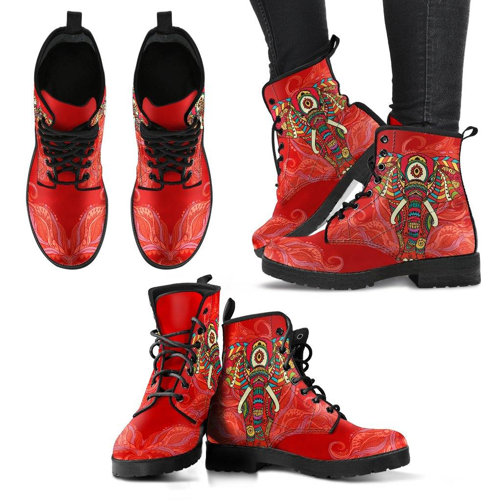 Red Regal Elephant Vegan Leather Boots