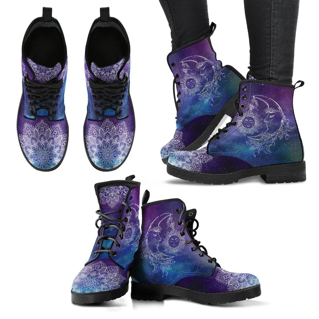 Purple Sun and Moon Galaxy Mandala Vegan Handcrafted Boots