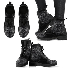 Black Owl Vegan Leather Boots - Manifestie