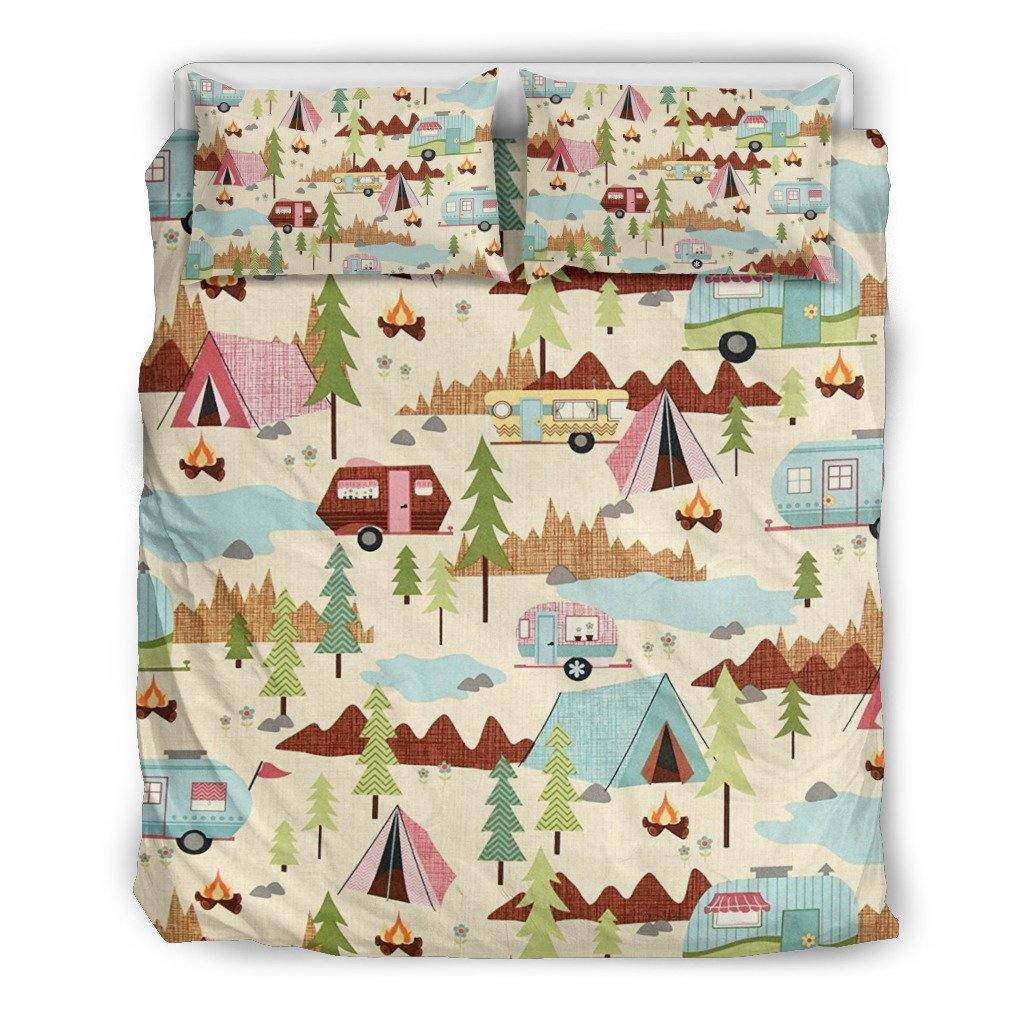 Let's Go Camping Bedding Set | Duvet Cover, 2 Pillow Cases | RV Tent