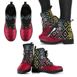 Red Aztec Boho Vegan Leather Boots - Manifestie