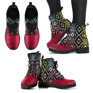 Red Aztec Boho Vegan Leather Boots