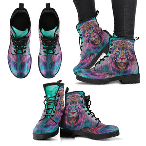 Fractal Lion Vegan Leather Boots