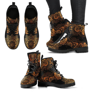 Black and Gold Paisley Mandala Vegan Leather Boots