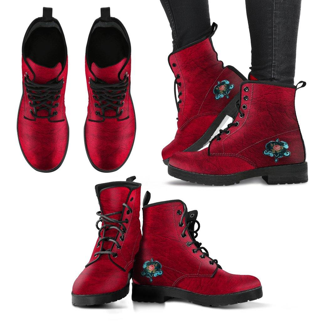 Red Steampunk Vegan Leather Boots