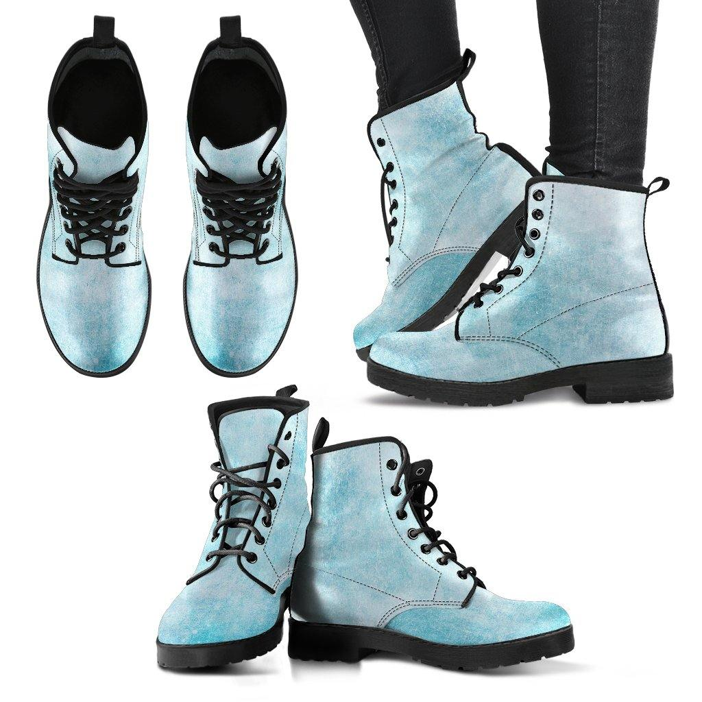 Sky Blue Grunge Vegan Leather Boots