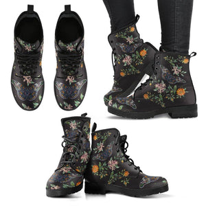 Butterfly Flowers Vegan Leather Boots