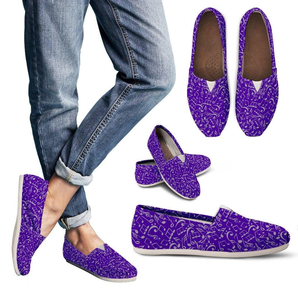 Purple Musical Notes Casual Slip On Shoes