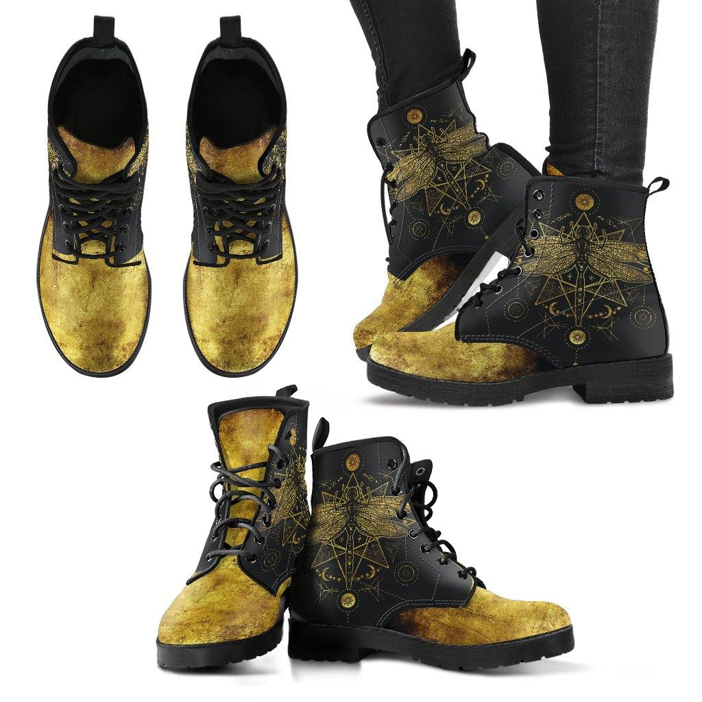Golden Sacred Dragonfly Vegan Leather Boots
