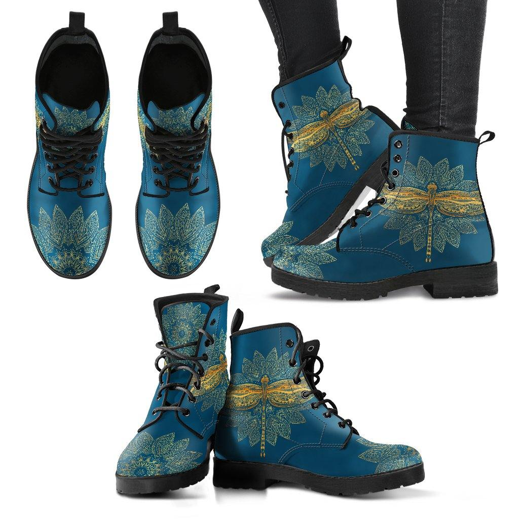 Gold Dragonfly on Teal Vegan Leather Boots