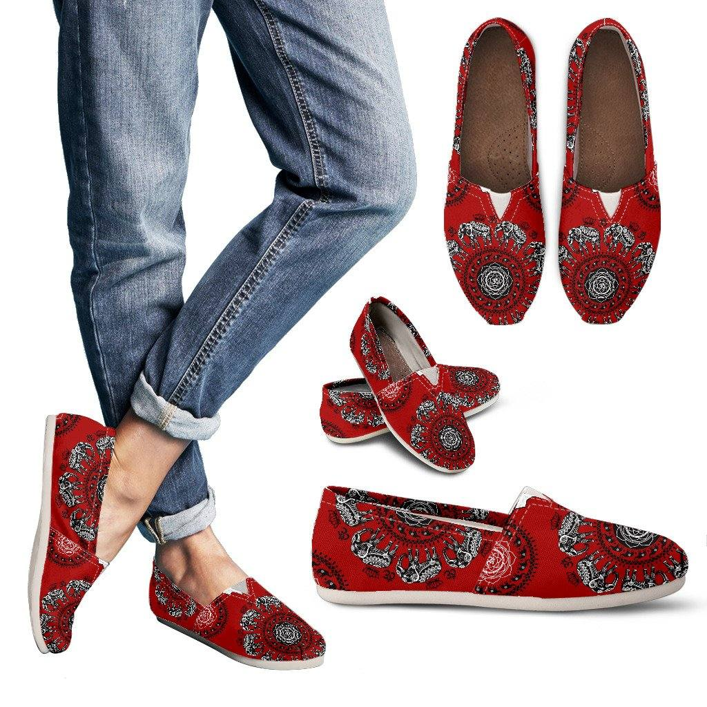 Red Elephant Mandala Om Casual Slip On Shoes