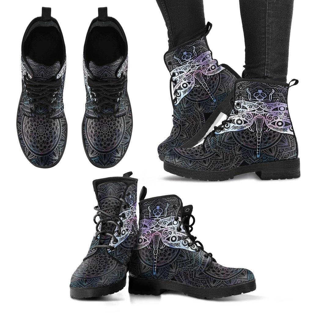 Black and Silver Dragonfly Vegan Leather Boots