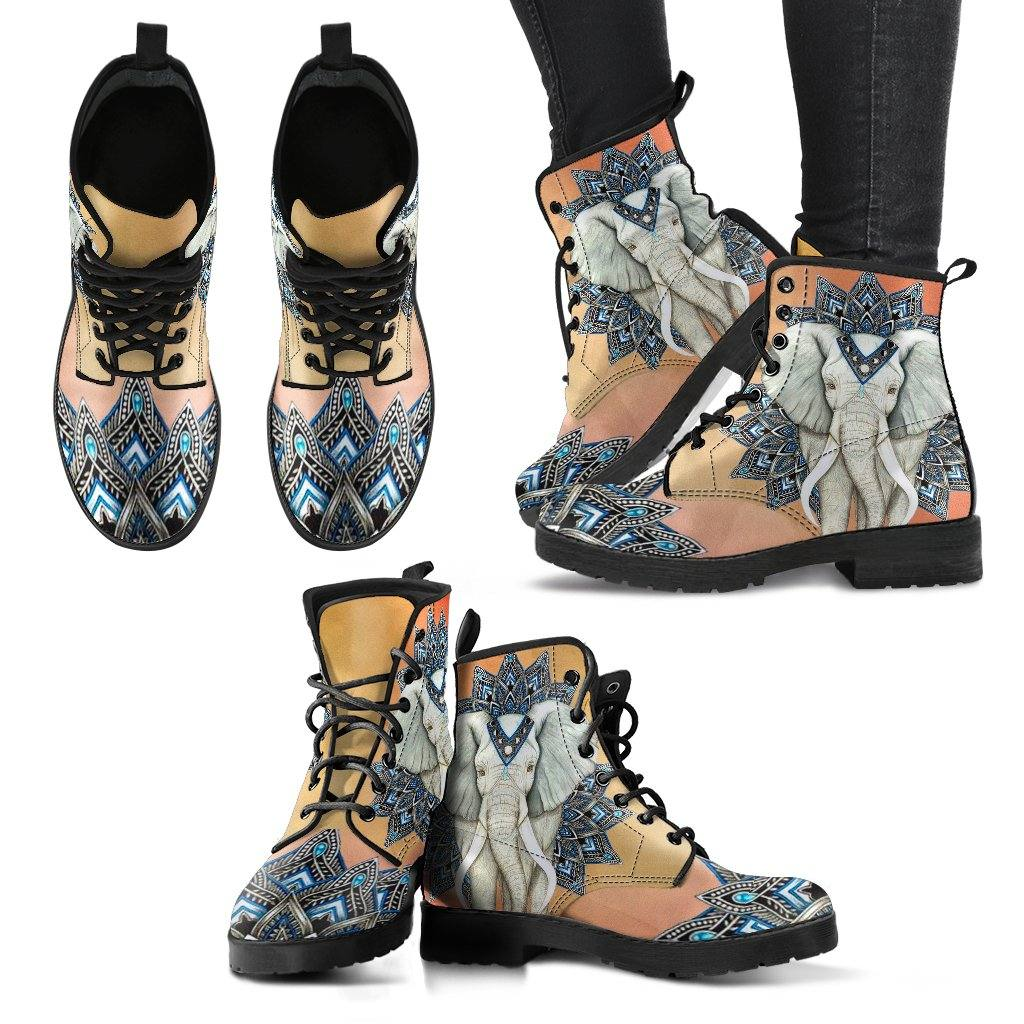 Regal Elephant Vegan Leather Boots
