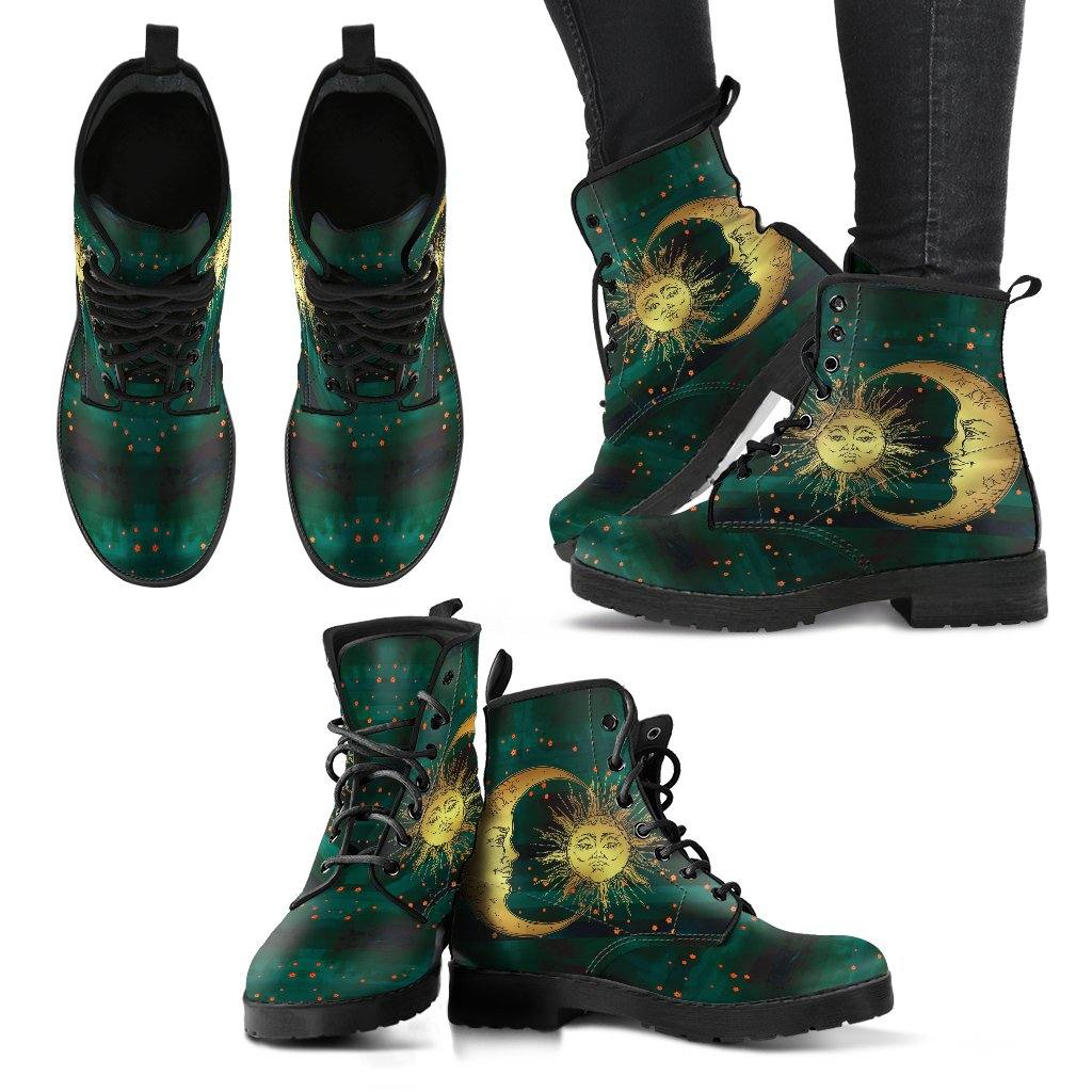 Green Sun and Moon Vegan Leather Boots