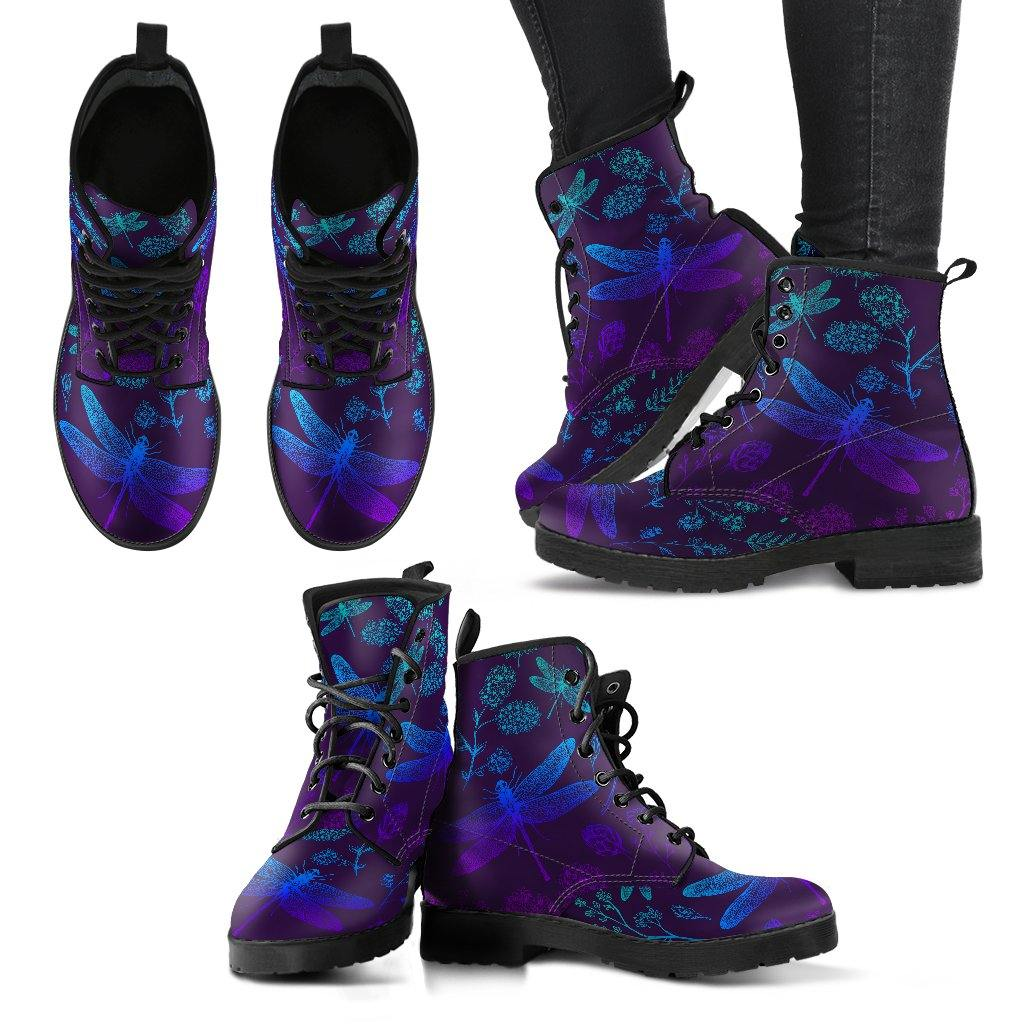 Purples and Blues Dragonfly Vegan Leather Boots