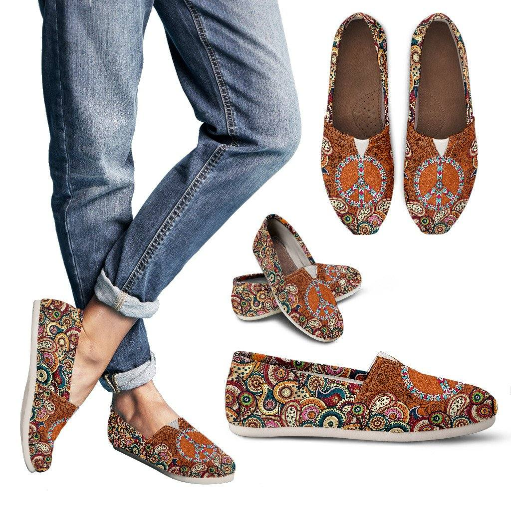 Leather Paisley Mandala Casual Slip On Shoes