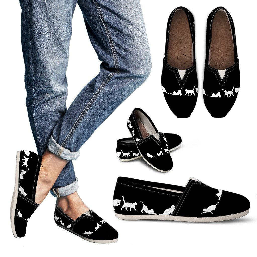 Black & White Cat Casual Slip On Shoes