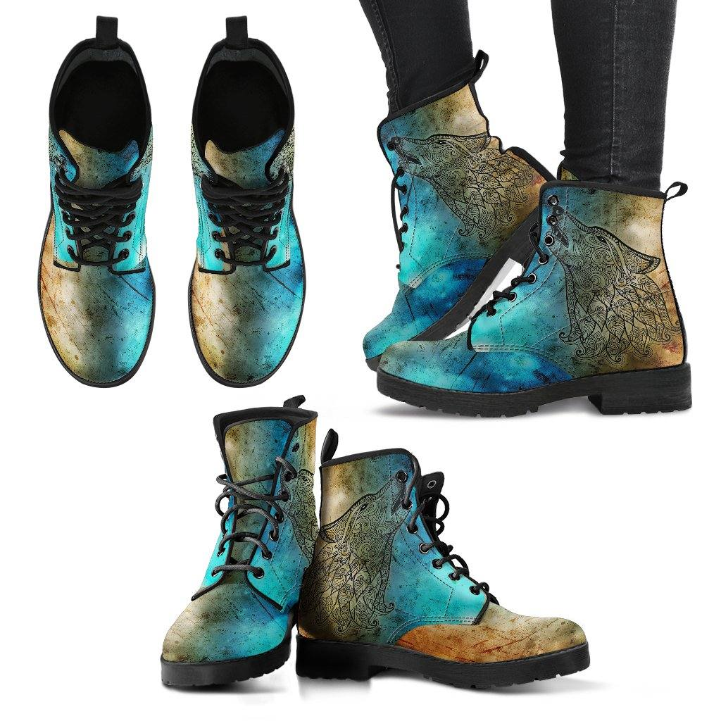 Tribal Wolf Vegan Leather Boots