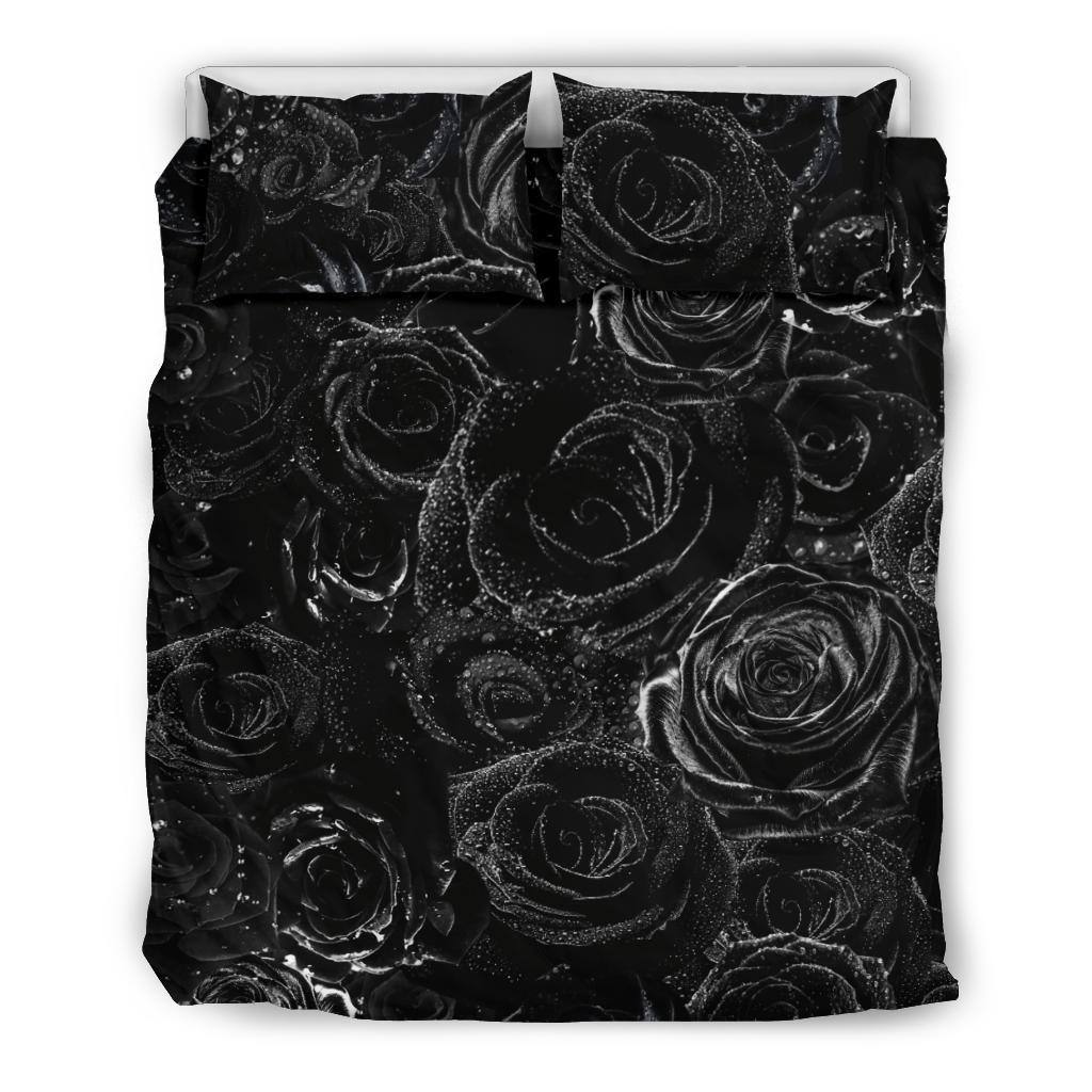 Black Roses and Dewdrops Bedding Set | Duvet Cover, 2 Pillow Cases