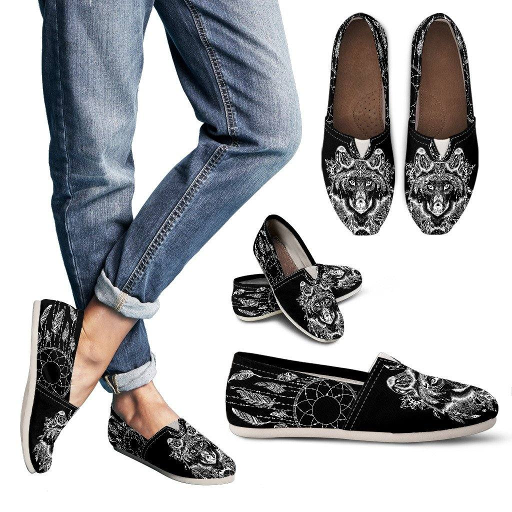 Boho Wolf Casual Slip On Shoes