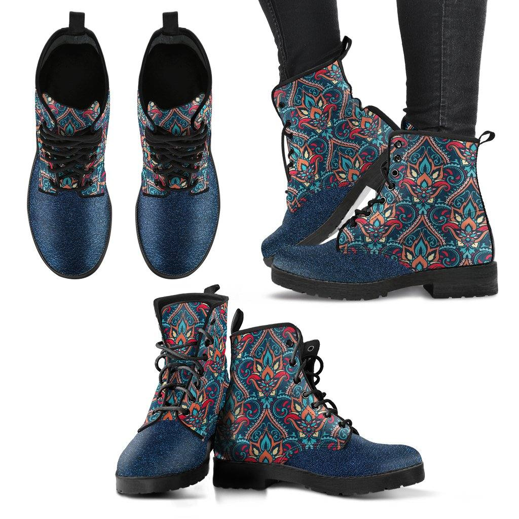 Blue Mandala Vegan Leather Boots