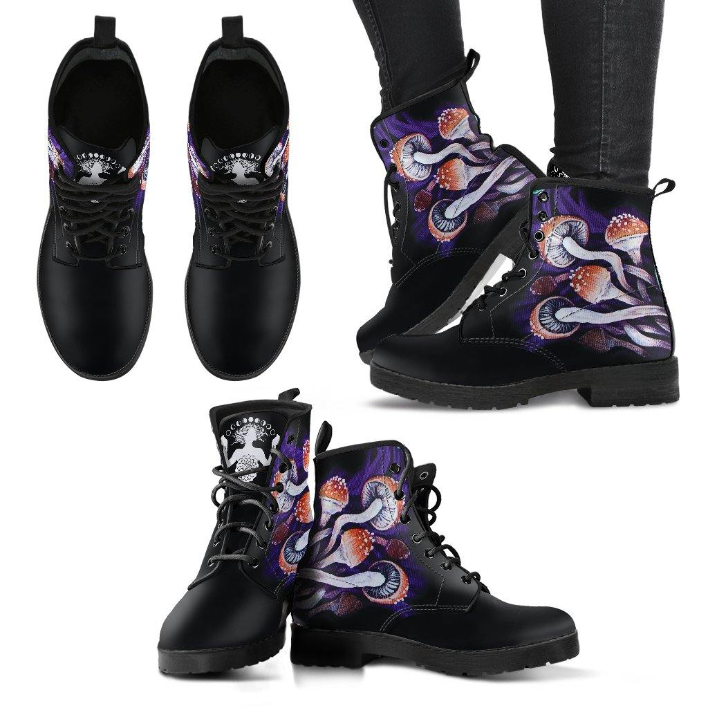 Psychedelic Mushrooms Vegan Leather Boots