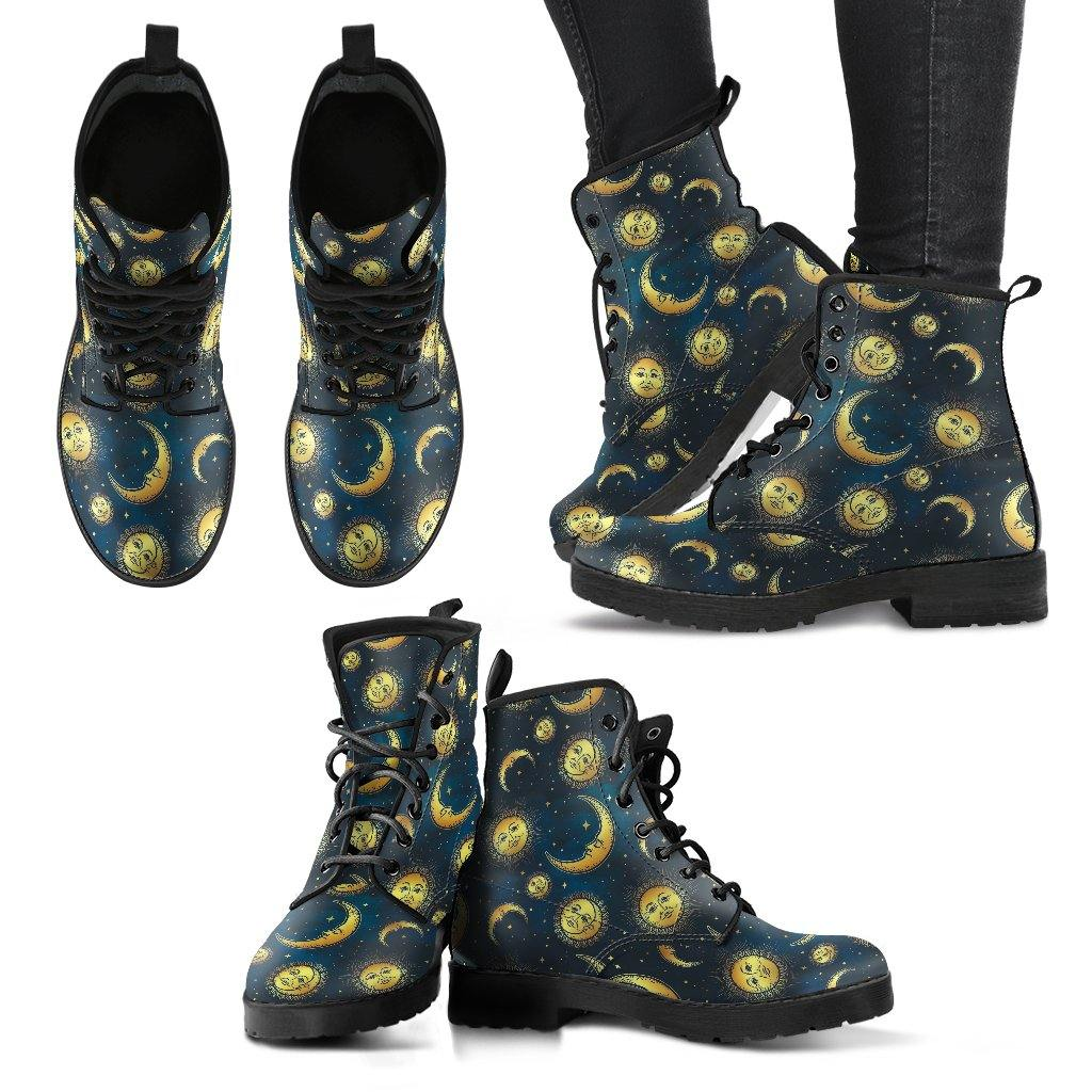 Whimsical Blue Sun and Moon Vegan Leather Shoes - Manifestie