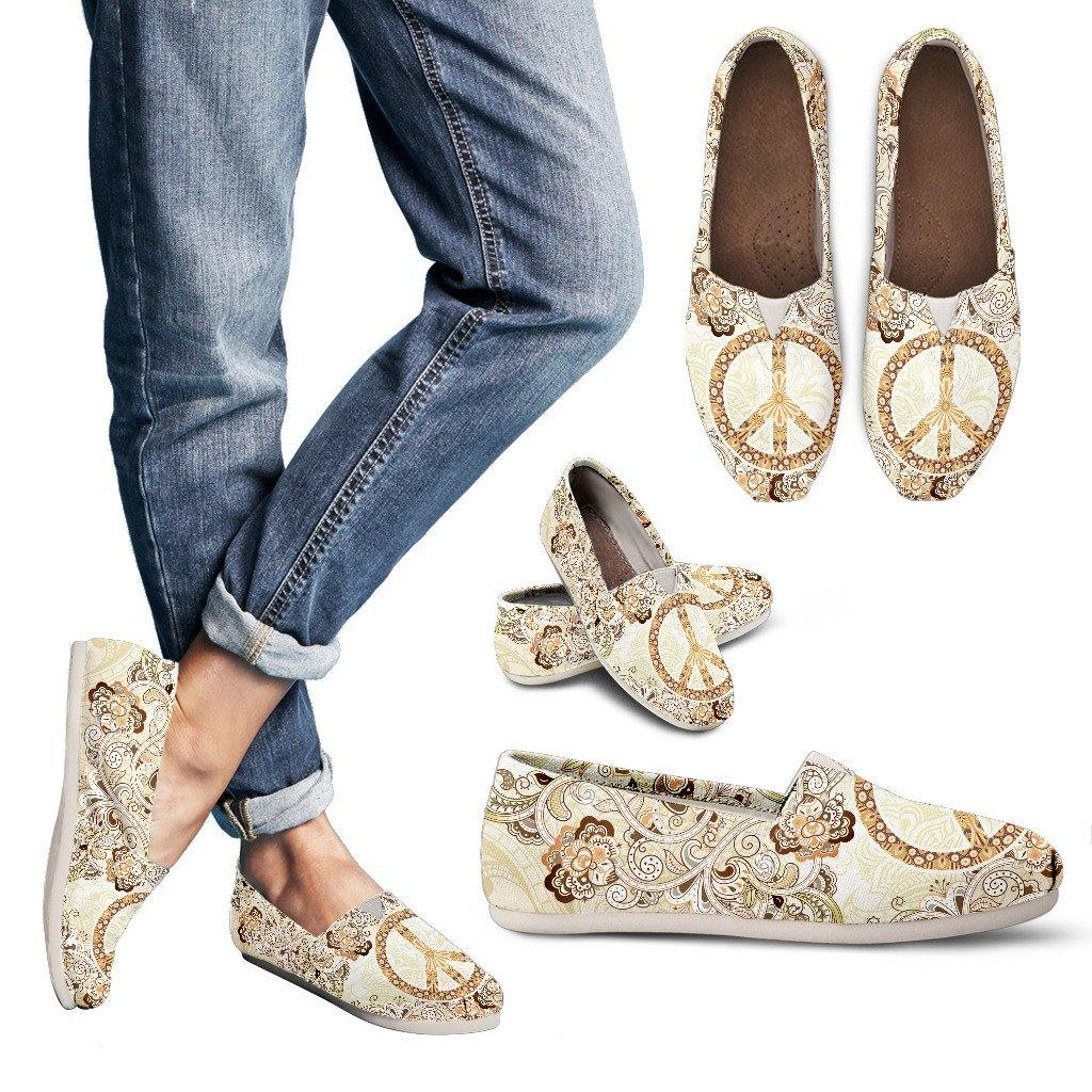 Beige Peace Mandala Casual Slip On Shoes