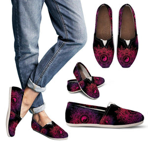 Black Neon Yin Yang Casual Slip On Shoes - Manifestie