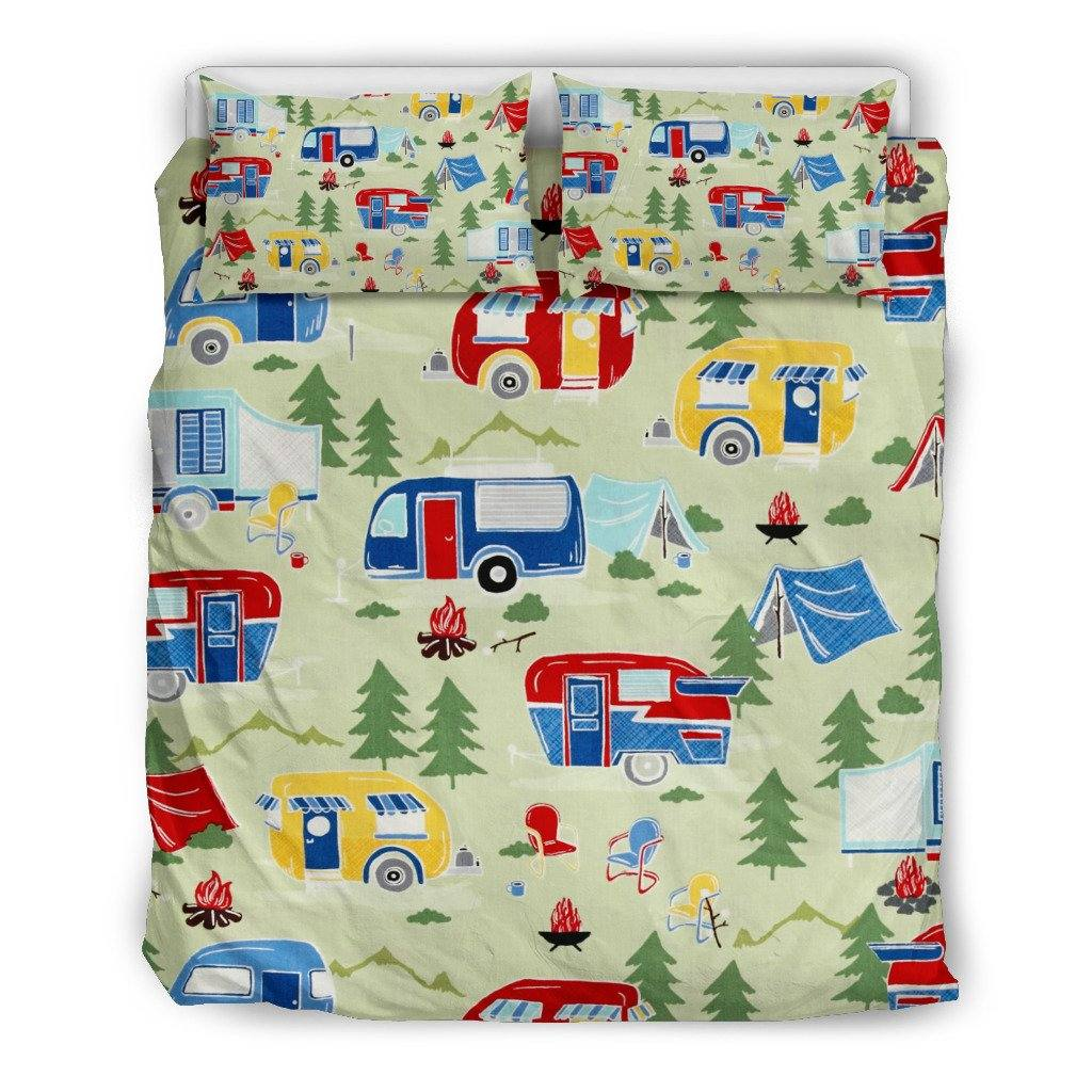 Great Outdoors Bedding Set | Duvet Cover, 2 Pillow Cases | Retro RV Camper Airstream Green