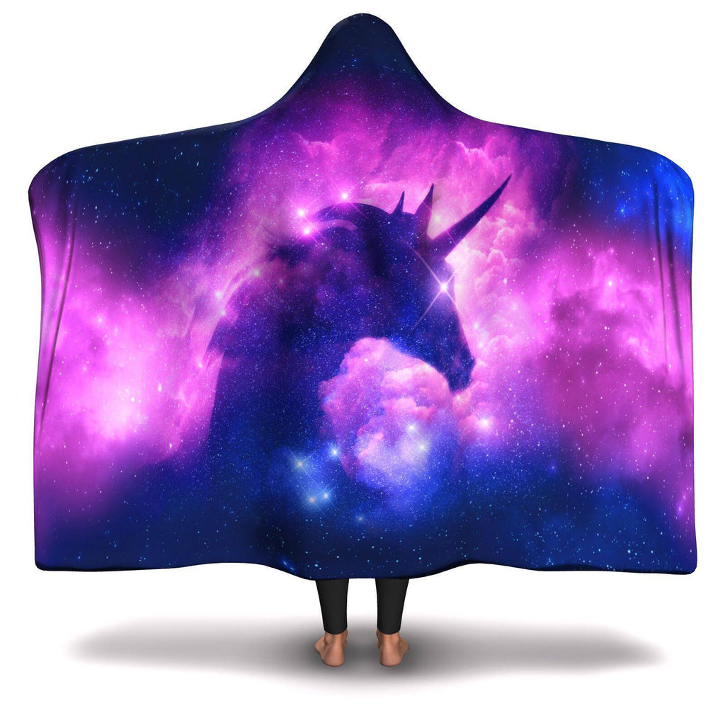 COSMIC UNICORN PREMIUM HOODED BLANKET with WRIST STRAPS