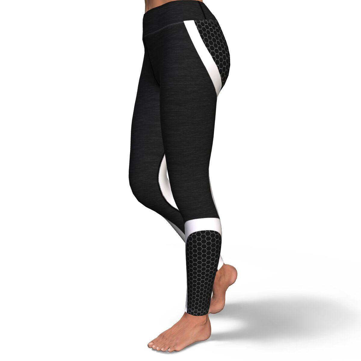 Black Honeycomb Premium Yoga Leggings - Manifestie
