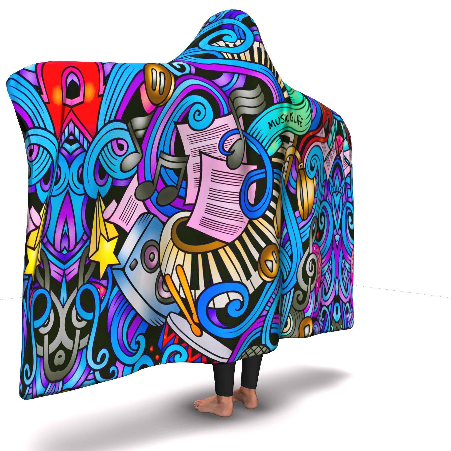 MUSIC IS LIFE HOODED BLANKET