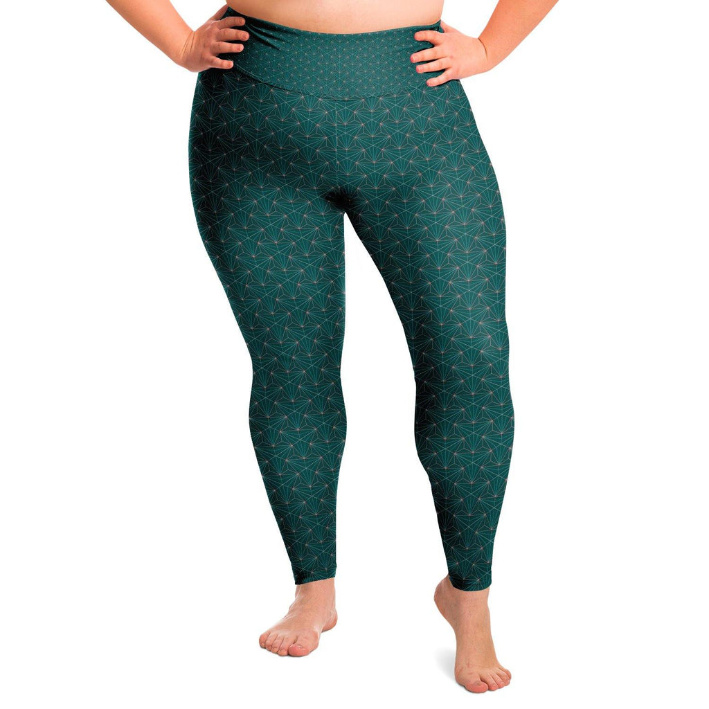 Turquoise Sacred Connections Premium Plus Size Yoga Leggings