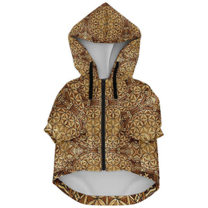 GOLD FLOWER OF LIFE PREMIUM DOG ZIP UP HOODIE