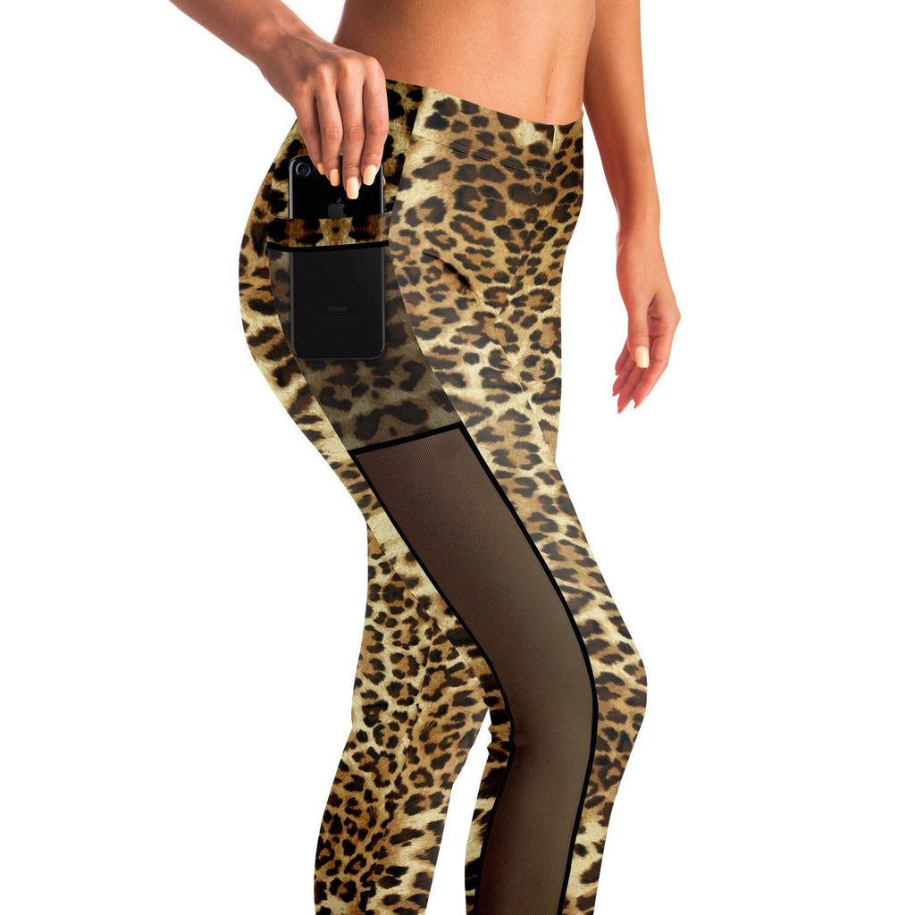LEOPARD PREMIUM MESH POCKET YOGA LEGGINGS