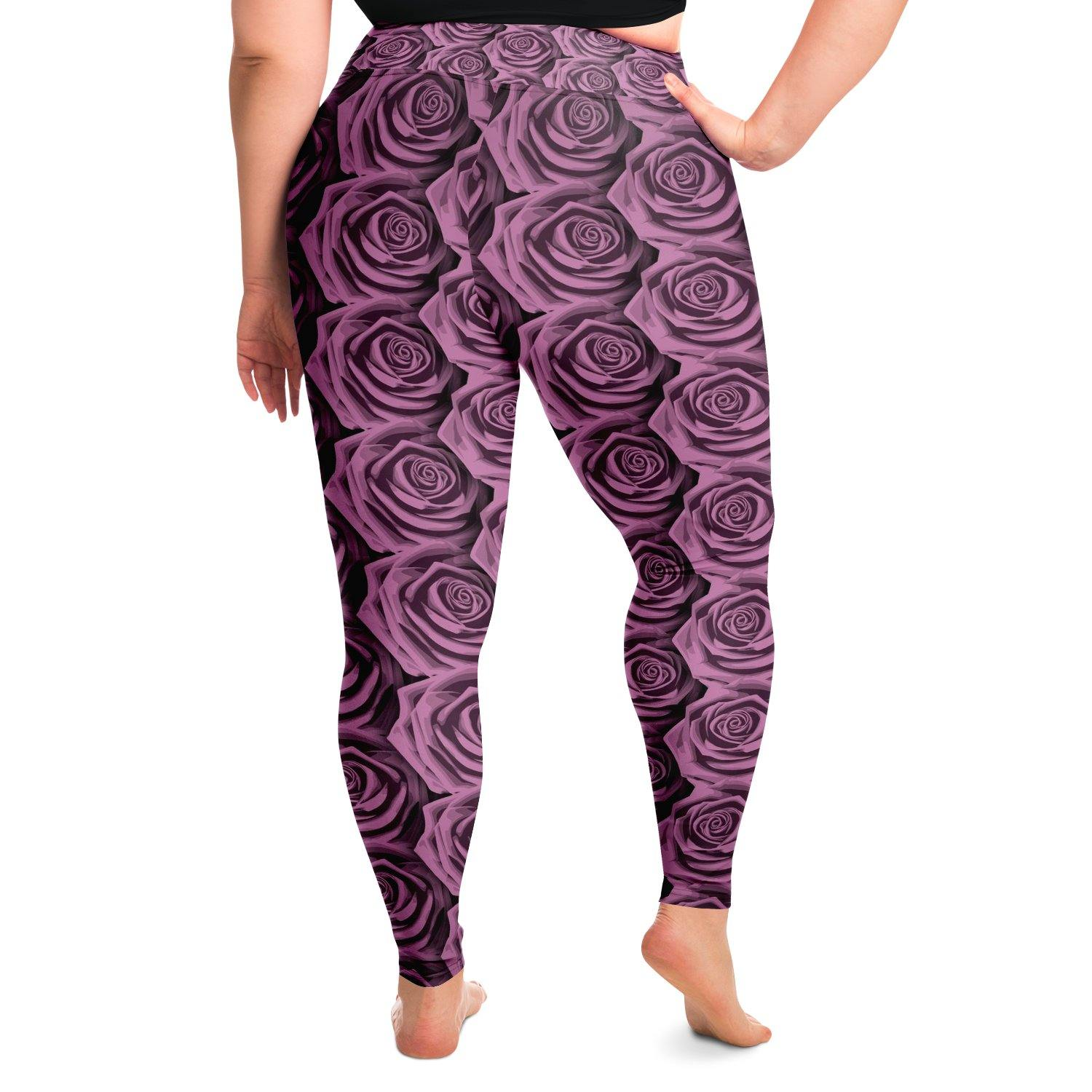 Pink Rose Premium Plus Size Yoga Leggings - Manifestie