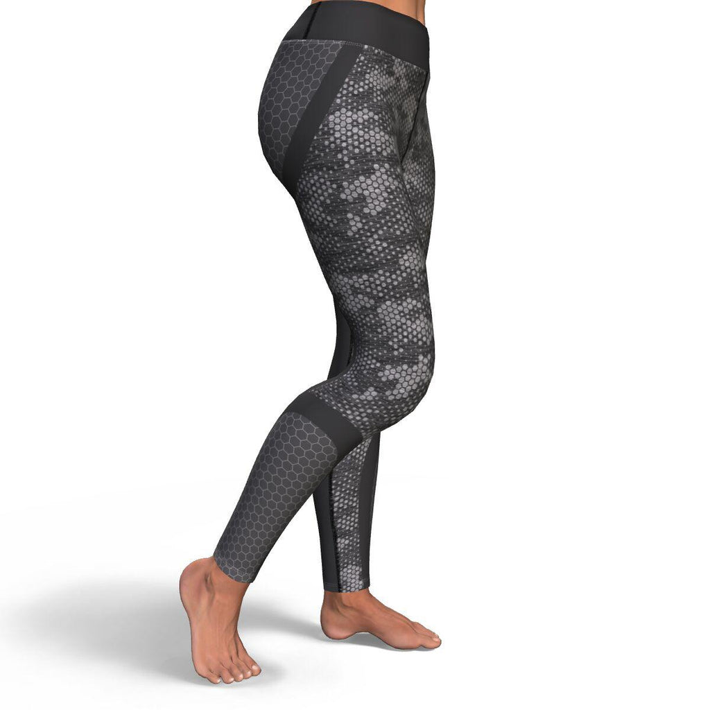 Dark Grey Honeycomb Camo PREMIUM YOGA LEGGINGS