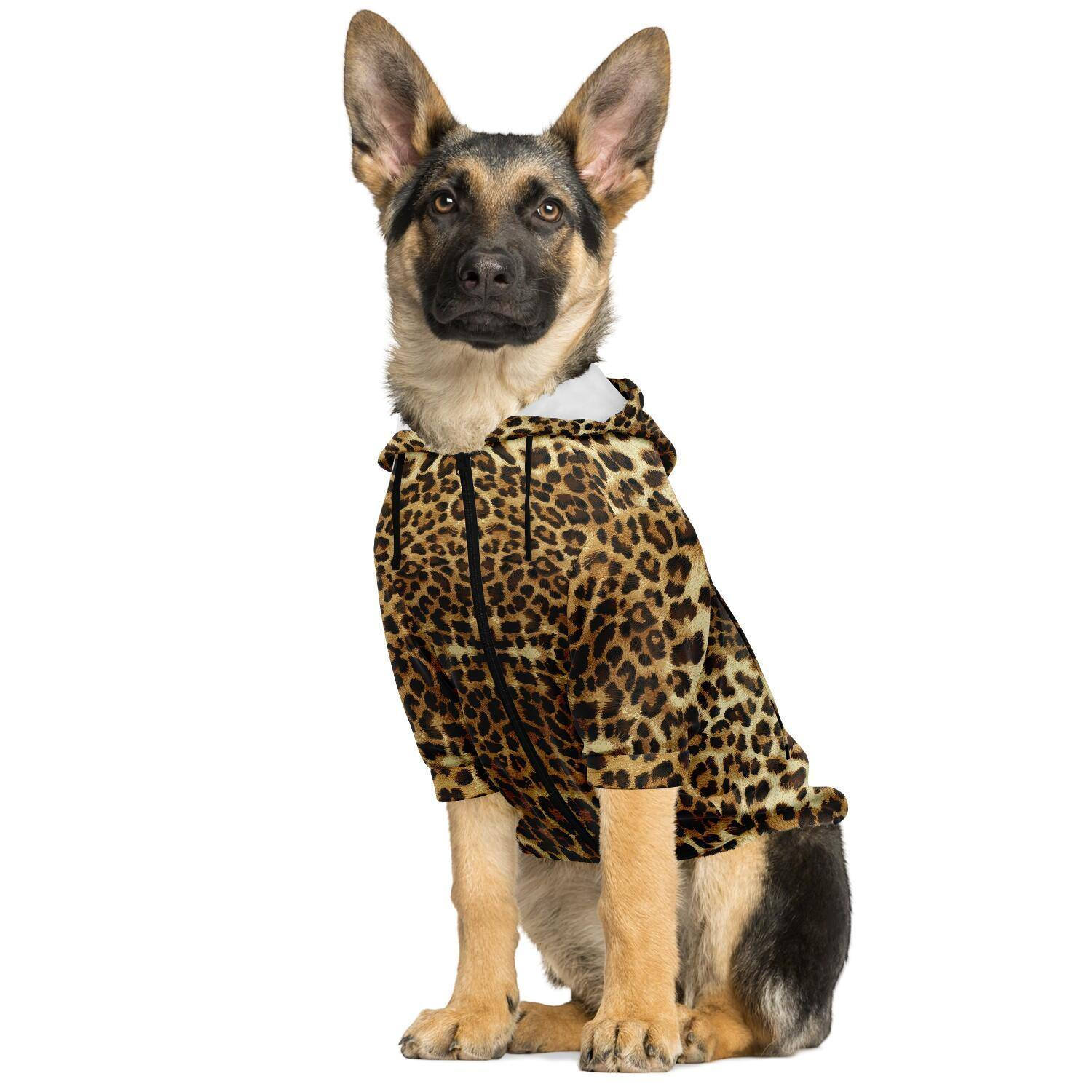 LEOPARD PRINT PREMIUM DOG ZIP UP HOODIE